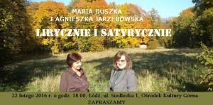 zaproszenie na 22.02.2016 Maria Duszka i Agnieszka Jarzębowska