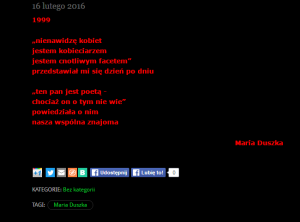 Maria Duszka - 1999 nienawidzę kobiet jestem kobieciarzem jestem cnotliwym facetem przedstawiał mi sie dzień po dniu