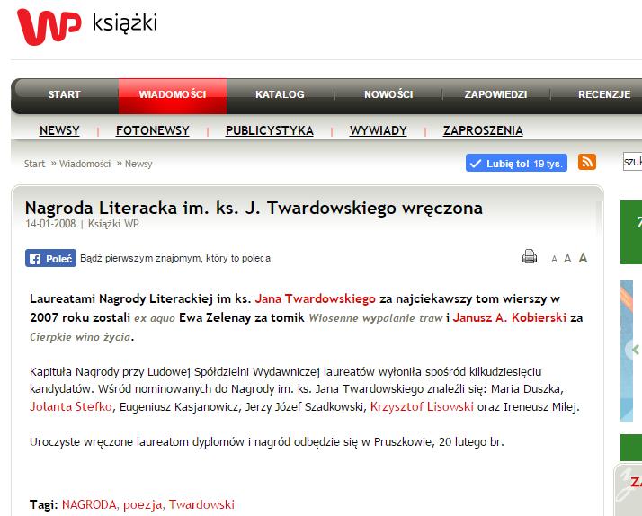 Maria Duszka - Galeria Świat- nominacja do Nagrody Literackiej im. ks. Jana Twardowskiego za najciekawszy tom wierszy wydany w 2007 r