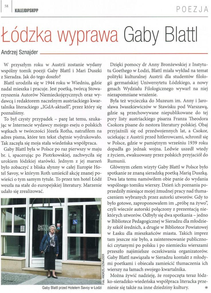 Gaby Blattl i Maria Duszka - artykuł Andrzeja Sznajdra w Kalejdodkopie